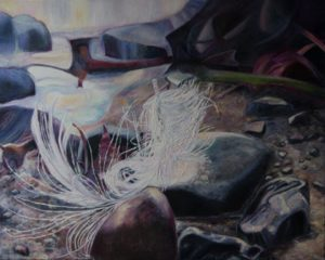 oil painting, feather