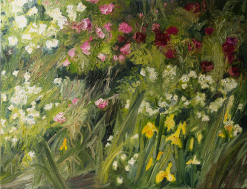 roses and iris, garden, oil painting